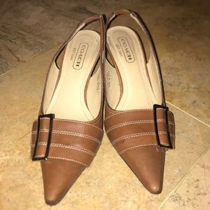 Coach leather pointed buckle heels